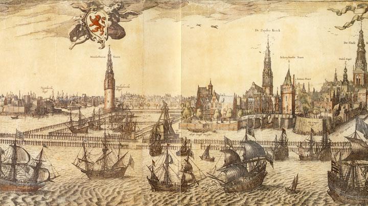 1614-1618 - Pieter van der Keere (plaatsnijder, uitgeverf) - Profiel van Amsterdam (det.)